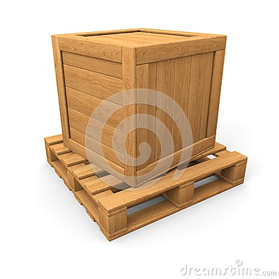 Wooden box on pallet