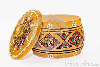 Wooden box with traditional ornaments