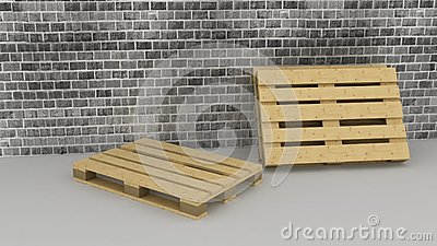 Wooden boxes on brick wall background
