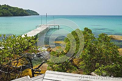 Wooden bridge on the coast of Kood island