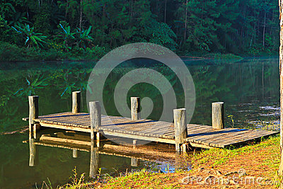 Wooden bridge in the reservoir