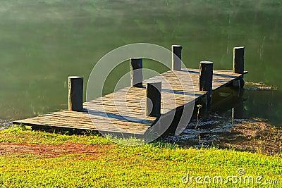 Wooden bridge in the reservoir