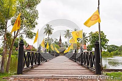 Wooden bridge to ruin pagoda