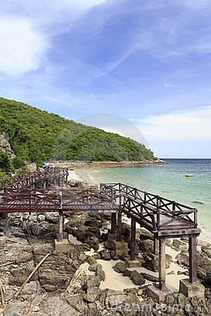 Wooden Bridge on turquoise seascape