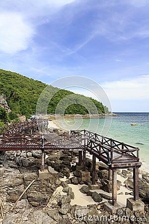 Wooden Bridge on turquoise seascape