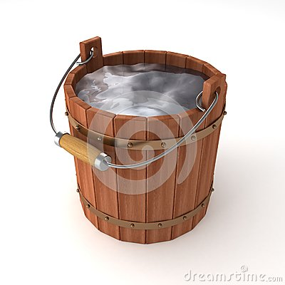 Wooden Bucket Of Water On White Background Royalty Free ...
