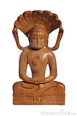Wooden Buddha statuette with smile on white