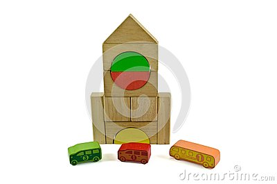 Wooden building blocks school bus