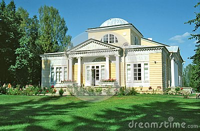 Wooden building in classical style