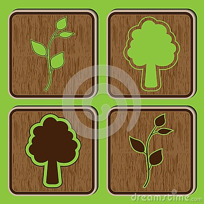 Wooden buttons with ecological icons of leaves and