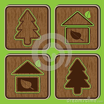 Wooden buttons with ecological icons of a tree an