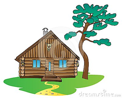 Wooden cabin and pine tree