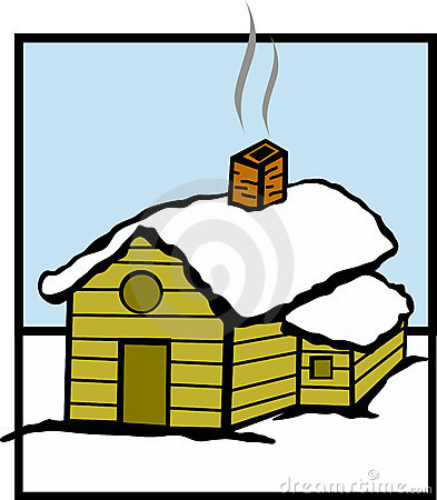 wooden cabin with snow vector illustration