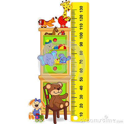 Free Wooden Cabinet With Toys Measure The Child Growth Stock Photo - 72601700