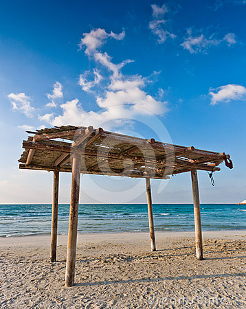 Wooden canopy on the beach