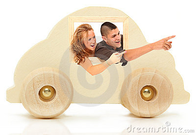Wooden Car Toy with Couple