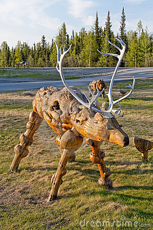 Wooden caribou sculpture