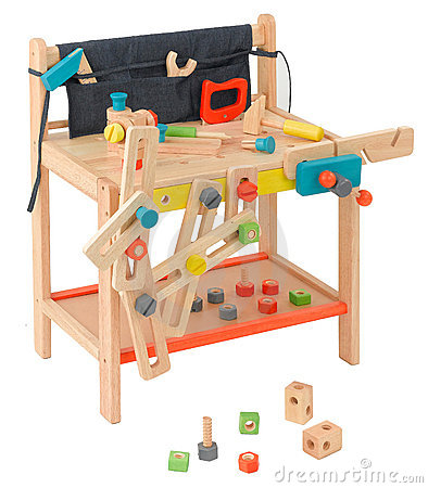 Wooden carpenter toy tools