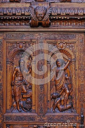 Wooden carved door close-up