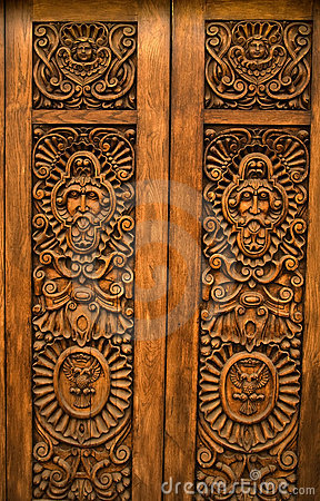 Wooden Carved Door Guadalajara Mexico