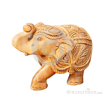 Wooden carved elephant isolated on white background