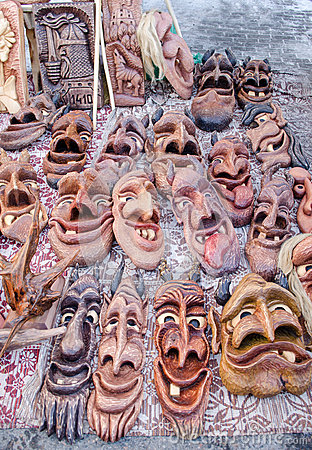 Wooden carved funny masks market fair rural crafts