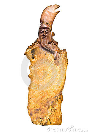The wooden carving chinese god