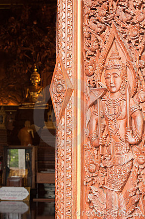 Wooden carving in native Thai style
