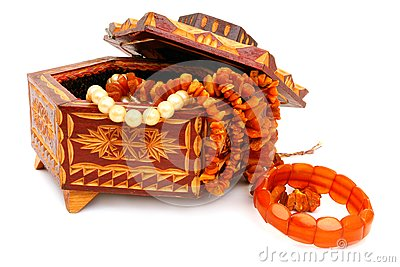 The wooden casket and amber