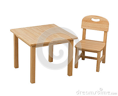 Wooden chair and desk for kid