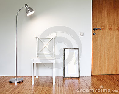 Wooden Chair with floor lamp