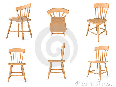 Wooden chairs in different angles