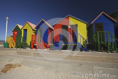 Wooden changing cabins at the beach, Cape Town