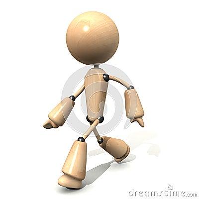 Wooden character walking