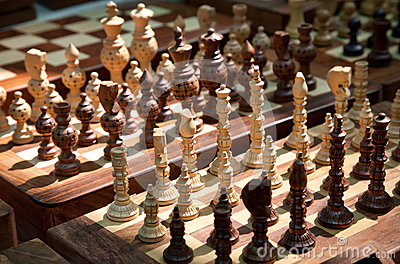 Wooden chess at market