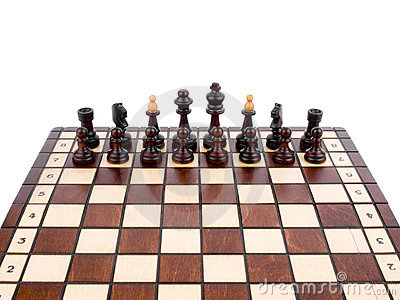 Wooden chess on white background