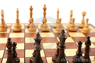 Wooden chess on wooden chessboard