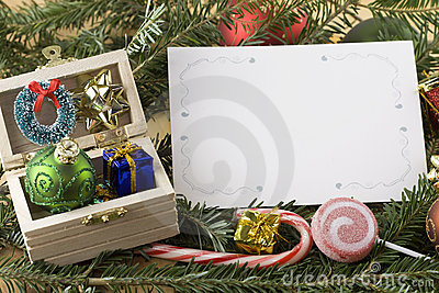 Wooden chest with blank Christmas card