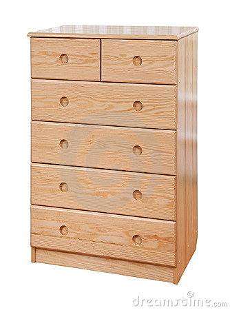 Wooden chest of drawers, with cl