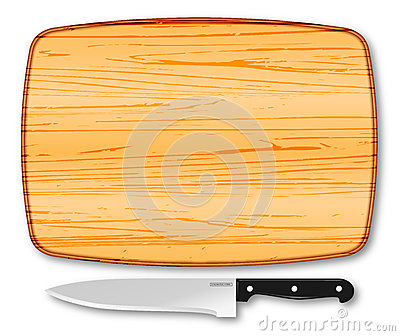 Wooden chopping board and knife