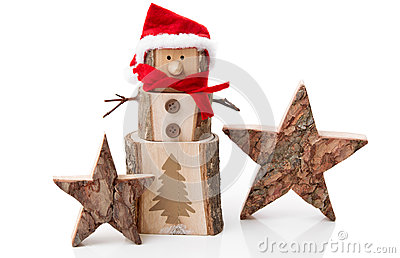 Wooden Christmas decoration: stars and santa hat o