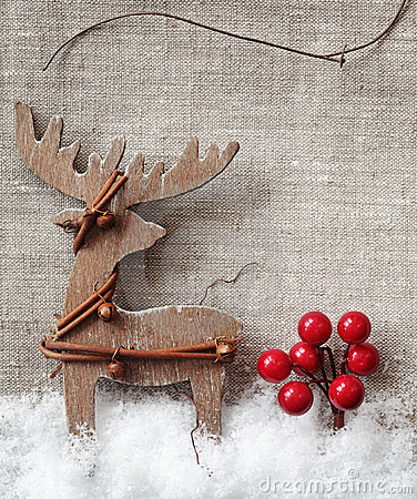 Free Wooden Christmas Deer Stock Photography - 22061712