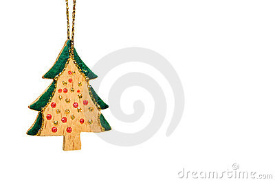 Wooden christmas tree decoration isolated on white