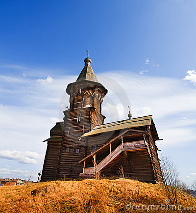 Wooden church on hill