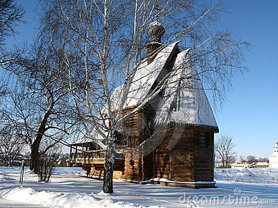 Wooden church in russian winter