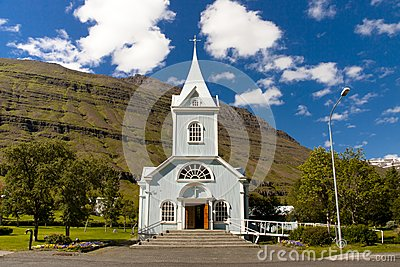 Wooden church in Seydisfjordur Iceland