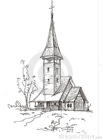 Wooden Church Sketch Stock Photos - Image: 8756513