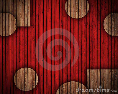 Wooden circles and rectangles