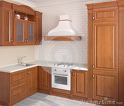 Wooden classic kitchen.