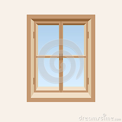 Wooden closed window.